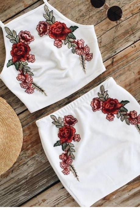 White Floral Embroidered Two-Piece Featuring Cropped Halter Top and Mini Pencil Skirt